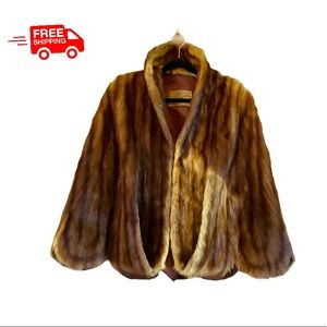 VTG Haber's Dyed Auth. Muskrat Fur Scalloped Cape